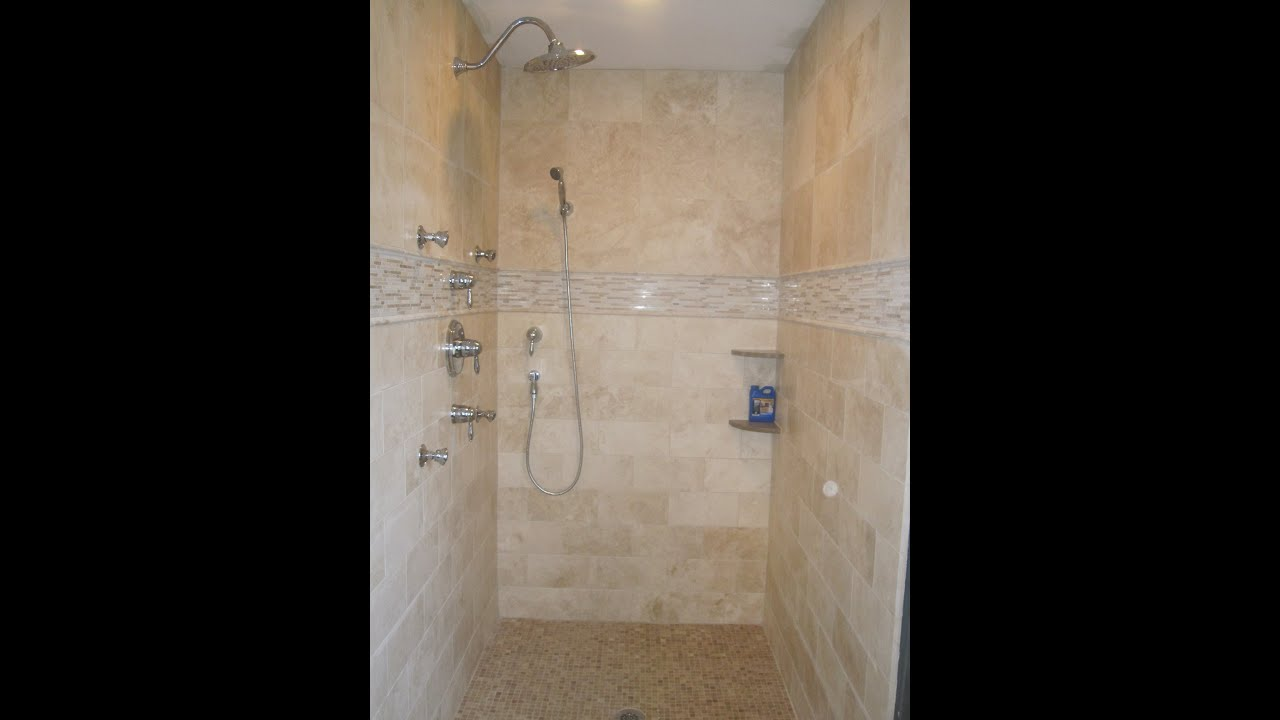 Travertine tile master bathroom - YouTube
