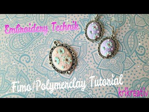Fimo Embroidery Technique/Applique Technik TUTORIAL *Krikreativ* Polymerclay Jewellery Tutorial