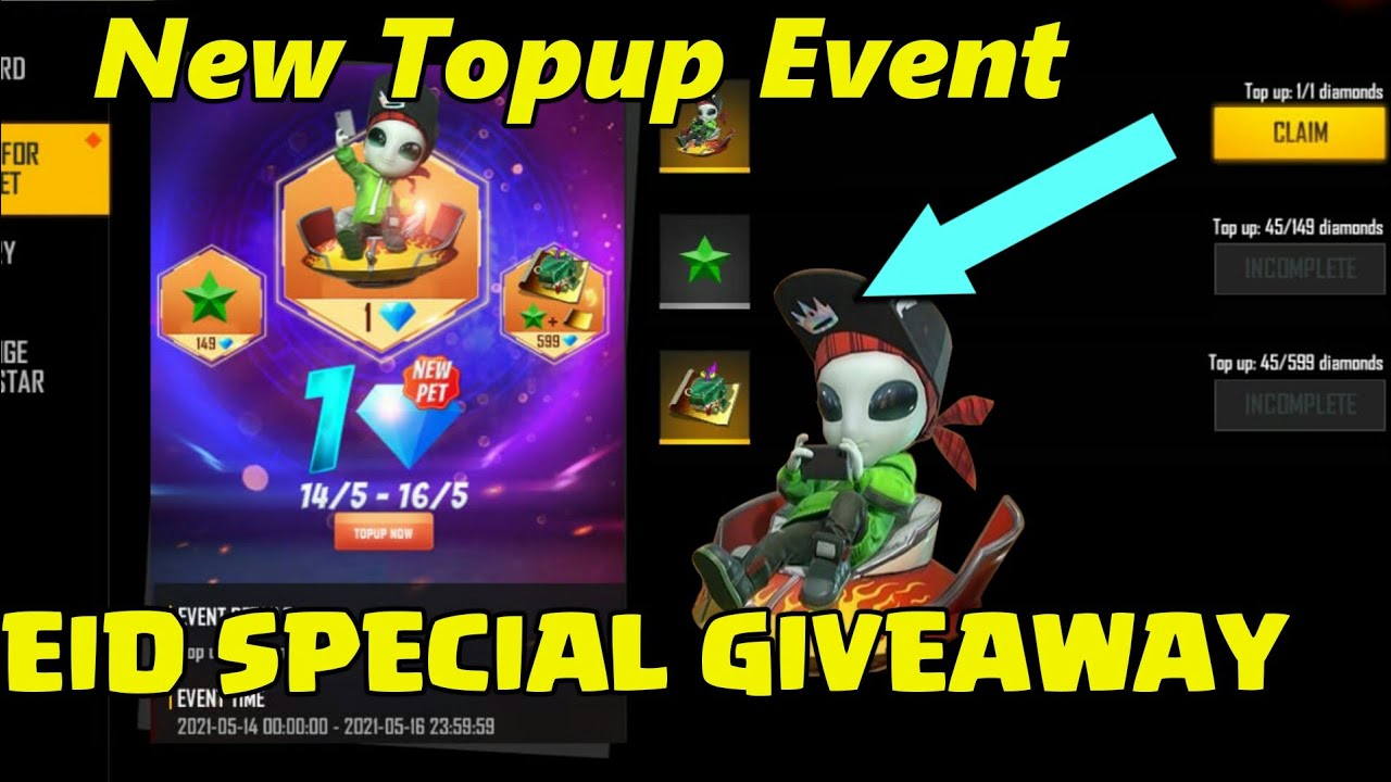 Eid Special Giveaway |Free Fire New Topup Event | Moony Pet Topup Event | Blue Print Topup Event