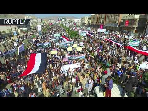 Sanaa streets flooded with people protesting against Saudi-led blockade