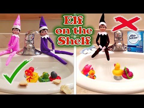 purple-&-pink-elf-on-the-shelf---good-elves-vs-evil-elf-feeding-the-ducks!-day-30