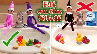 Purple & Pink Elf on the Shelf - Good Elves vs Evil Elf Feeding the Ducks! Day 30