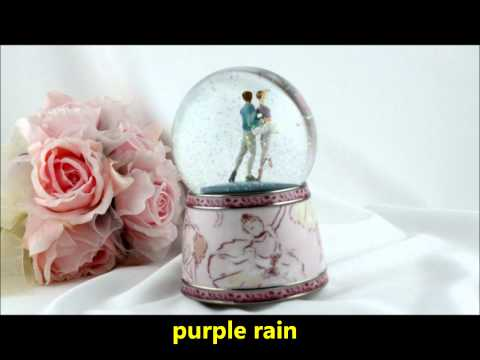 Purple Rain Forest musical box waterglobe snow globe - ballet couple dancing