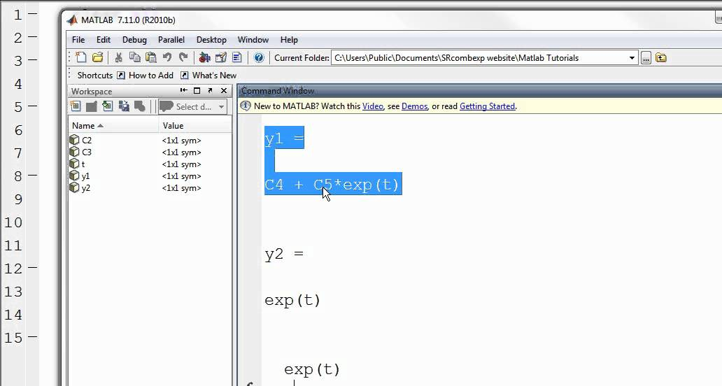 how to use matlab to solve system of equations