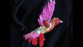 Брошь ''Птичка'' своими руками из текстиля.