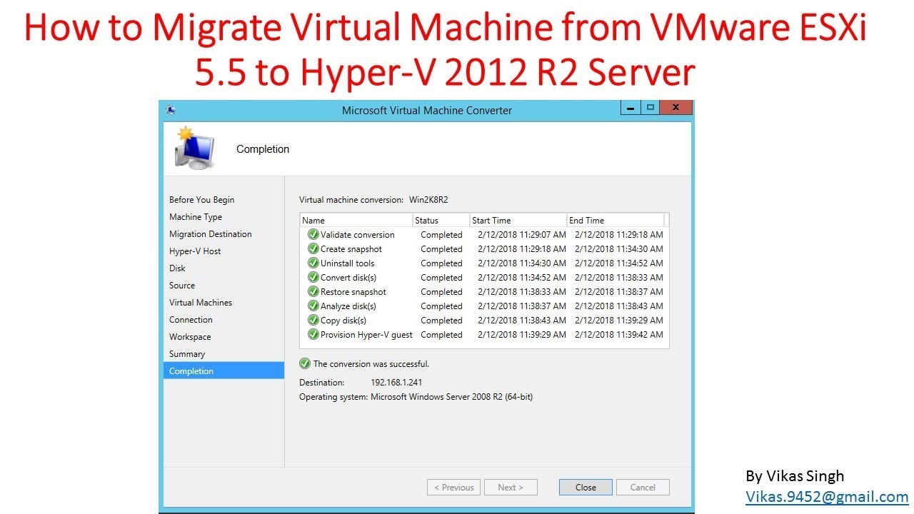 How to Migrate Virtual Machine from VMware ESXi to Hyper-V Server