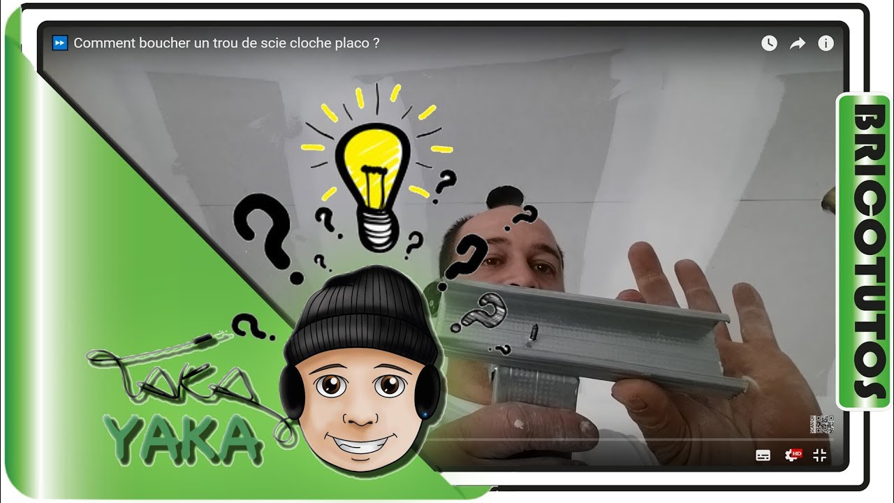 Comment boucher un trou de scie cloche placo youtube for Faire un plafond en ba13