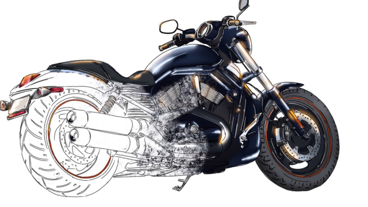 How to draw Harley-Davidson motorcycle from scratch. - YouTube