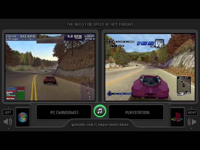 Need for Speed III: Hot Pursuit (PC vs Playstation) Side by Side Comparison