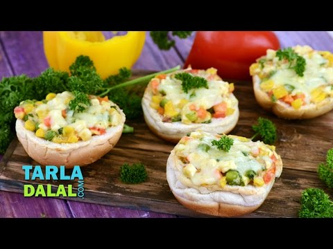 Chunky Cheese and Vegetable Open Burger by Tarla Dalal