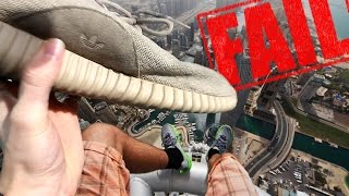 THROWING ADIDAS YEEZY BOOST OFF A TOWER.. GONE WRONG