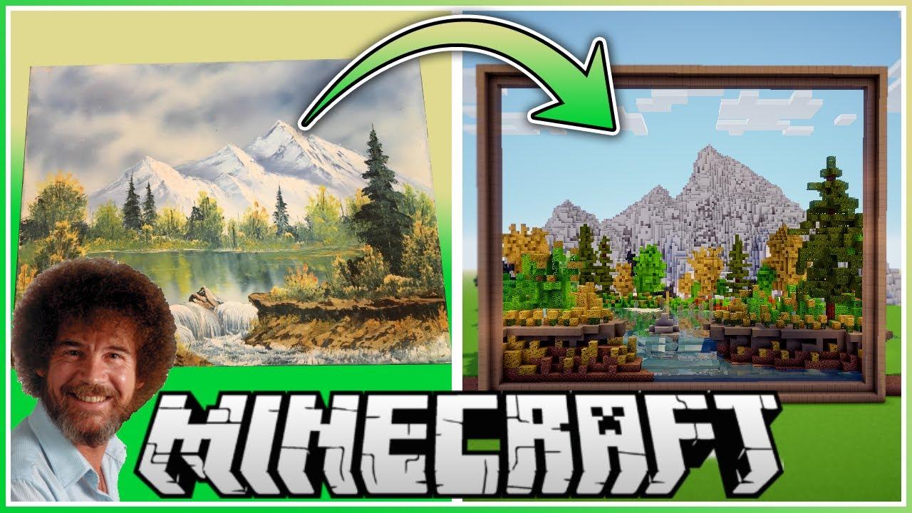 Minecraft Youtuber Baut Bild Von Tv Maler Bob Ross Im Spiel Nach