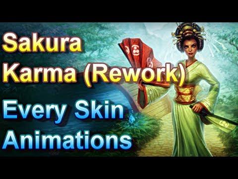 Sakura Karma Rework - Every Skin Animations - League of Legends
