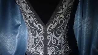 Аппликация для свадебного платья. Вишивка на сетке стразами и бисером.