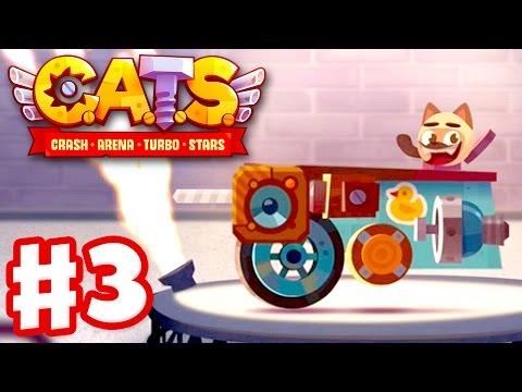 CATS: Crash Arena Turbo Stars - Gameplay Walkthrough Part 3 - Metal Parts and Spending Gems! (iOS)