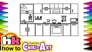 Let's learn to draw Kitchen and coloring for kids | Hooplakidz How To