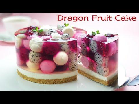 No-Oven / No-Egg / Beautiful Fruit Jelly Cheesecake Recipe / Cup Measure / Dragon Fruit (Pitaya) - Boone Bake분 베이크