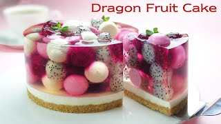 No-Oven / No-Egg / Beautiful Fruit Jelly Cheesecake Recipe / Cup Measure / Dragon Fruit (Pitaya)