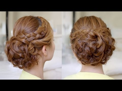 hair tutorial bridal curly updo with braids youtube