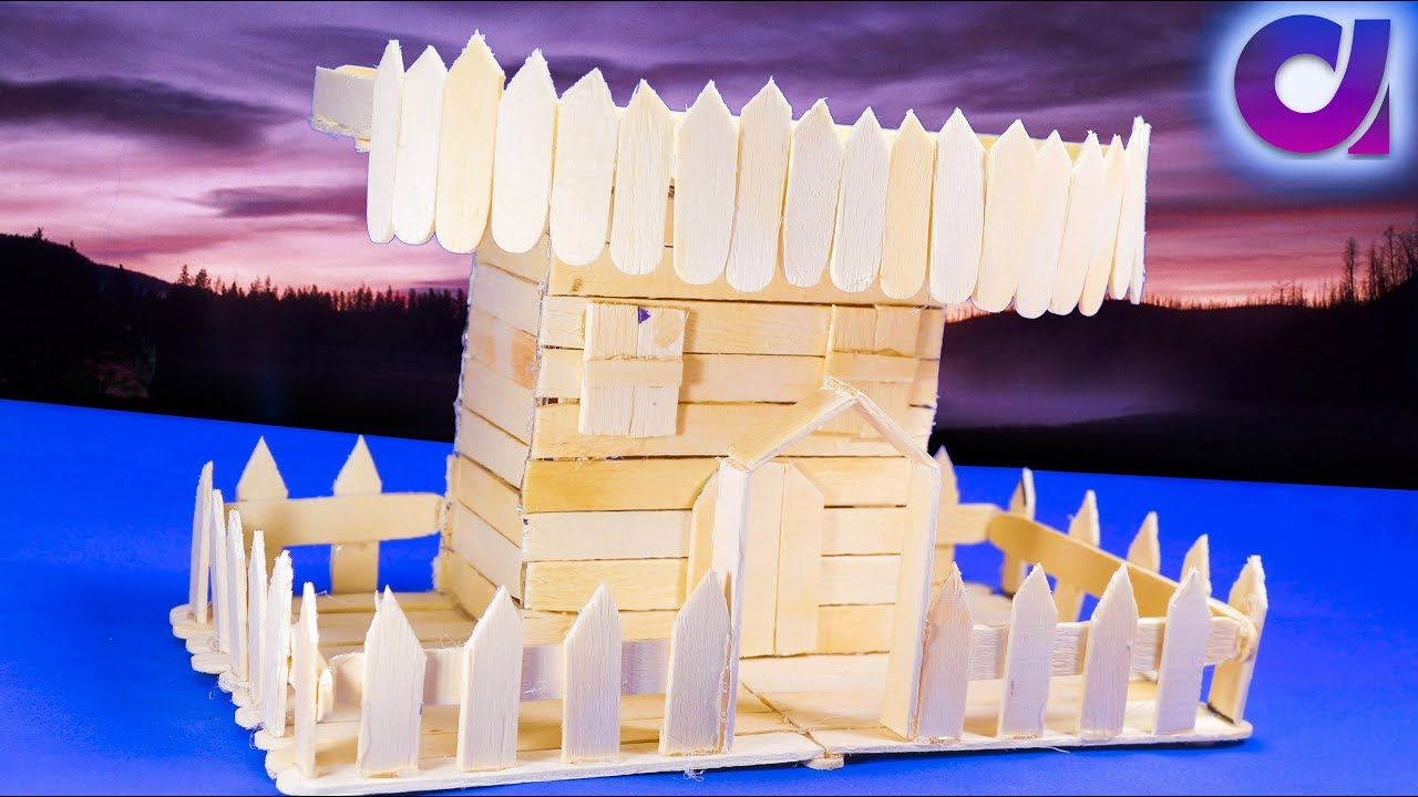 How to make popsicle stick house popsicle stick crafts for How to make popsicle stick crafts