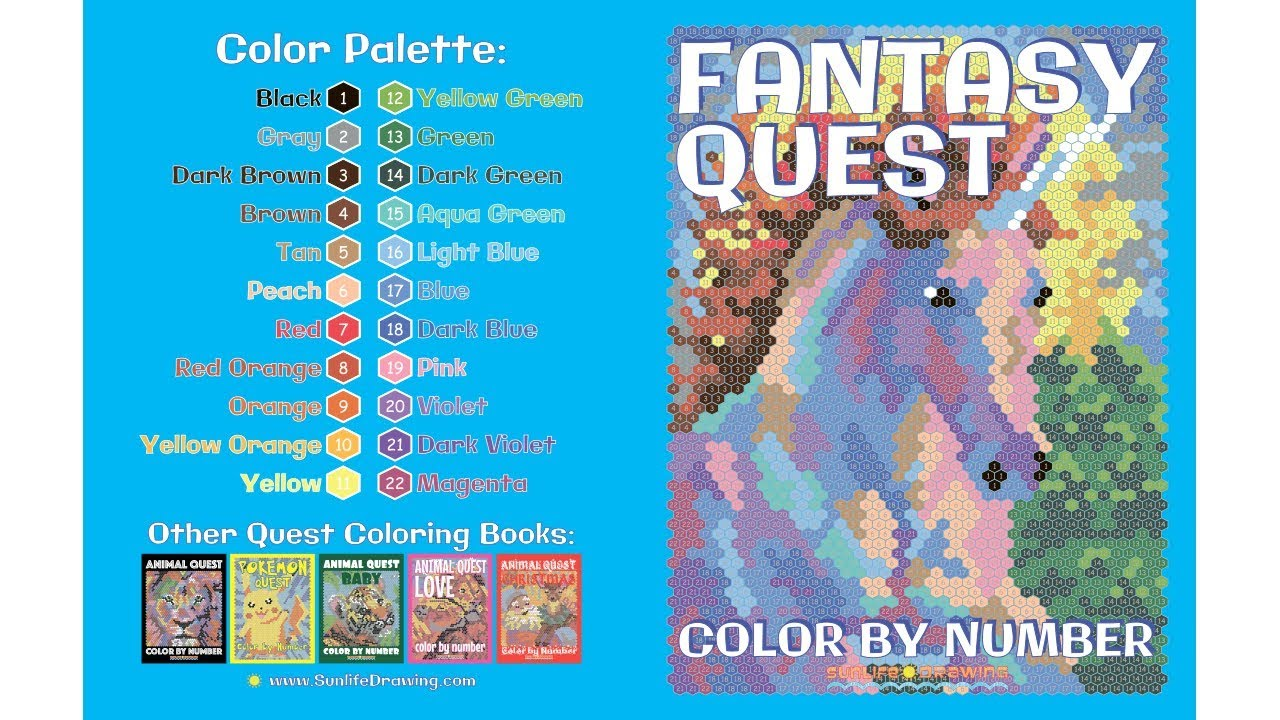 FANTASY QUEST Color by Number: Activity Puzzle Coloring Book for ...