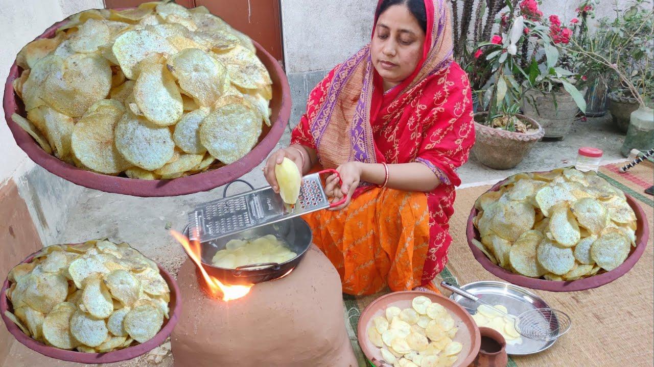 রোদে শুকানোর ঝামেলা ছাড়াই মাত্র 5 মিনিটে কুরকুরে মুচমুচে আলুর চিপস/ potato chips recipe