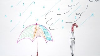 How to Draw Rain and Umbrella - Easy Drawing Tutorial For Beginners