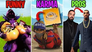 NEW DRAKE SKIN! FUNNY vs KARMA vs PROS - Fortnite Funny Moments