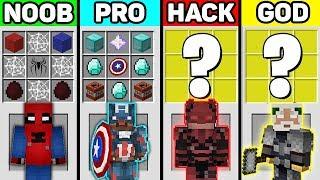 Minecraft SUPERHERO CRAFTING CHALLENGE - NOOB vs PRO vs HACKER vs GOD in Minecraft Animation