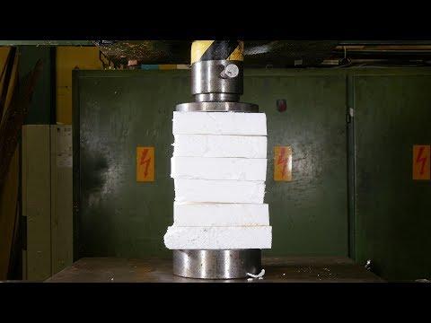 Crushing Styrofoam with Hydraulic Press