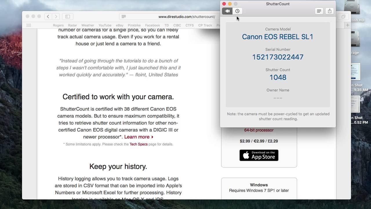 Canon 6d shutter count software