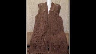 Ажурная безрукавка спицами. Часть 2 Спинка . Openwork vest knitting