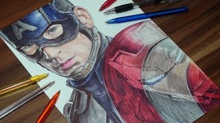 Captain American: Civil War - Captain America vs Iron Man Pen Drawing