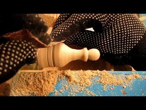 шахматы на токарном 17 вытачивать пешку фигуры комплект резцом станок деревянную делать сантехнику
