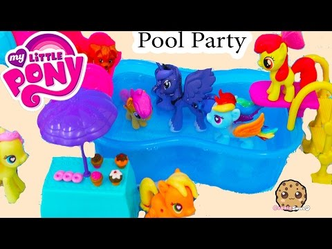 My Little Pony Pool Party MLP Water Slide Fun With Princess Luna + Chelsea Barbie Doll