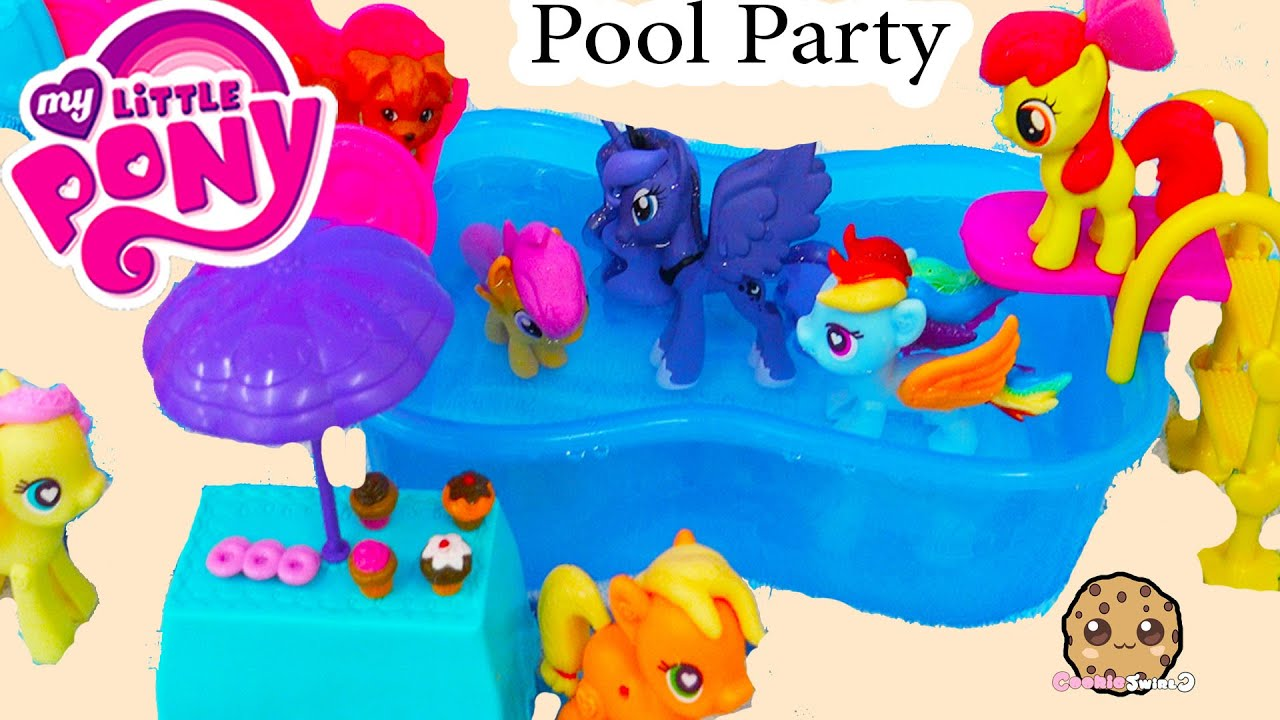 my little pony pool party mlp water slide fun with princess luna chelsea barbie doll funnycat tv