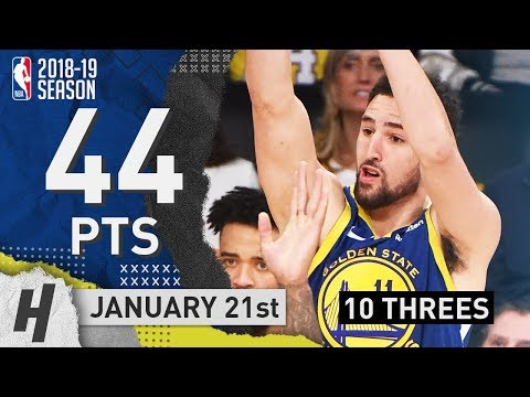 Klay Thompson DESTROYS Lakers! Full Highlights vs Lakers 2019.01.21 - 44 Pts, 10 Threes!