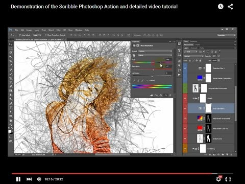 Demonstration of the Scribble Photoshop Action and detailed
