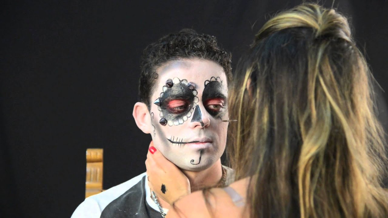 Red Sugar Skull Face Paint Male