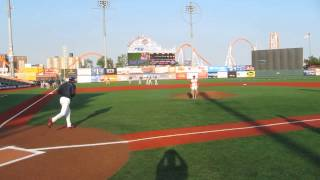 Bobo from the opie and anthony show throws first pitch at Brooklyn Cyclones game