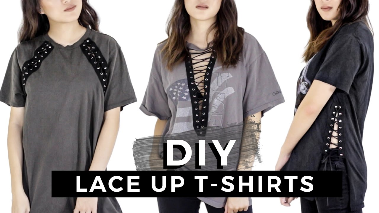 0ade66b8 DIY Lace Up T-Shirts + Vintage Tees - YouTube