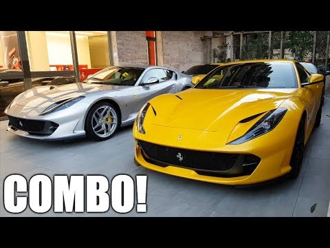 3 x FERRARI 812 SUPERFAST together in Monaco, LOUD REVS & Deliveries!