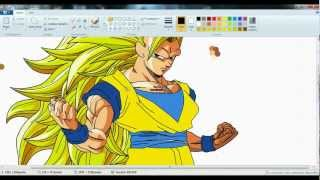 drawing goku ssj3 in ms paint- dibujando a goku ssj3 en paint