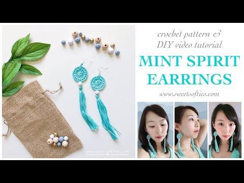 MINT SPIRIT EARRINGS    Quick Easy DIY Tutorial + Free Crochet Pattern