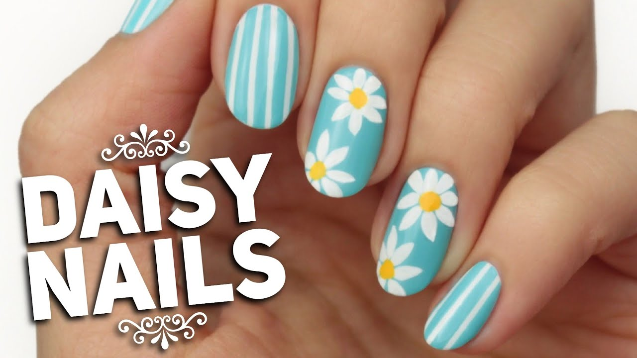 Spring Daisy Nail Art Design - YouTube