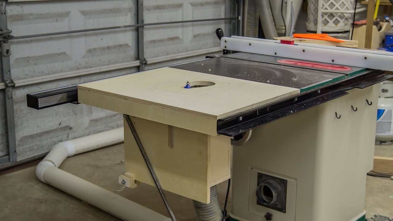 Table saw extension wing for a router lift 188 youtube greentooth