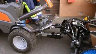 Learn how to attach a broom to a Husqvarna P 525D Front Mower