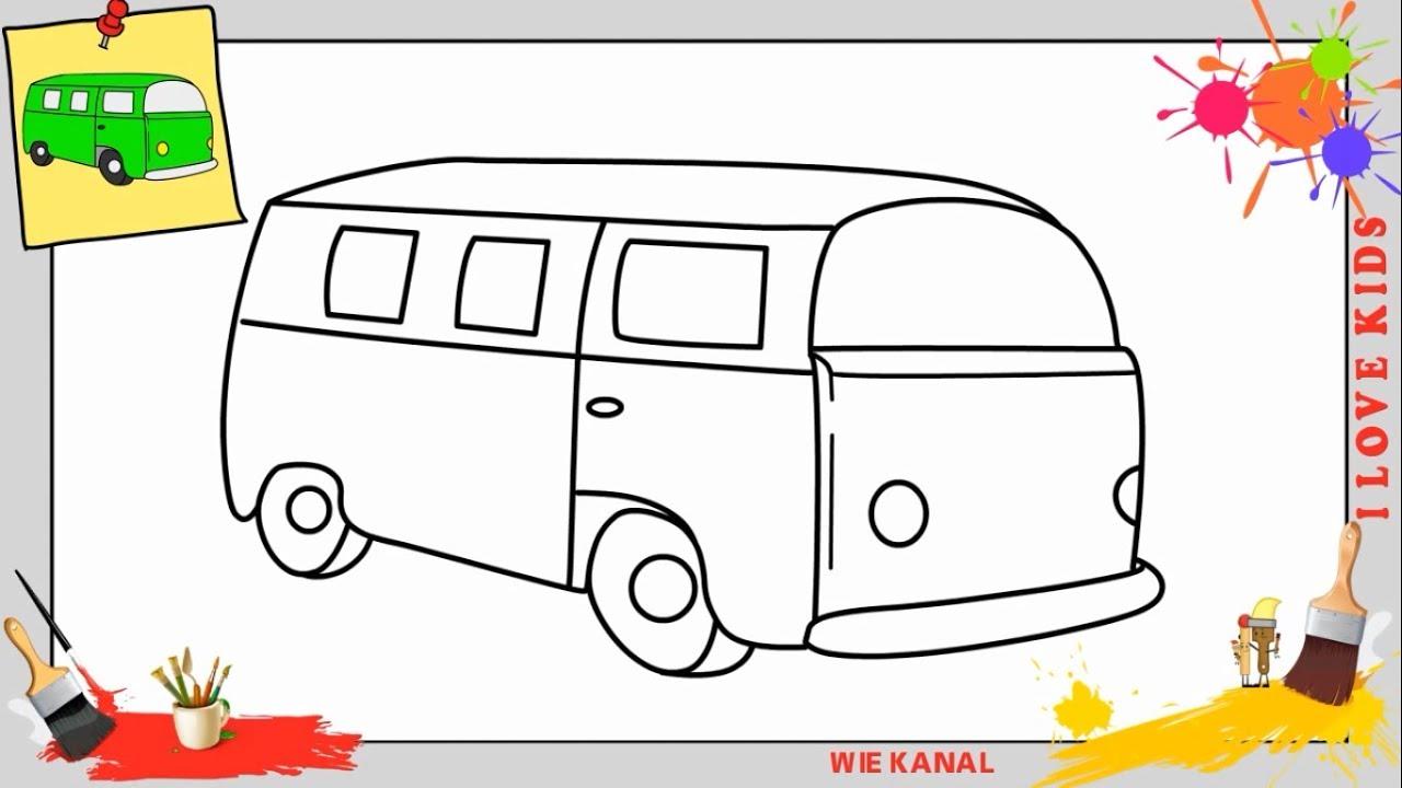 bus zeichnen 2 schritt f r schritt f r anf nger kinder. Black Bedroom Furniture Sets. Home Design Ideas