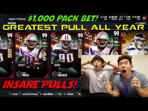 MY BEST PACK OPENING, PULL, & REACTION EVER! $1000 PACK BET! MADDEN 17 ULTIMATE TEAM