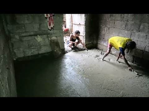 Finishing concrete floor for outside (dirty) kitchen ~ Video 4 ~ Santa Barbara, Iloilo Philippines